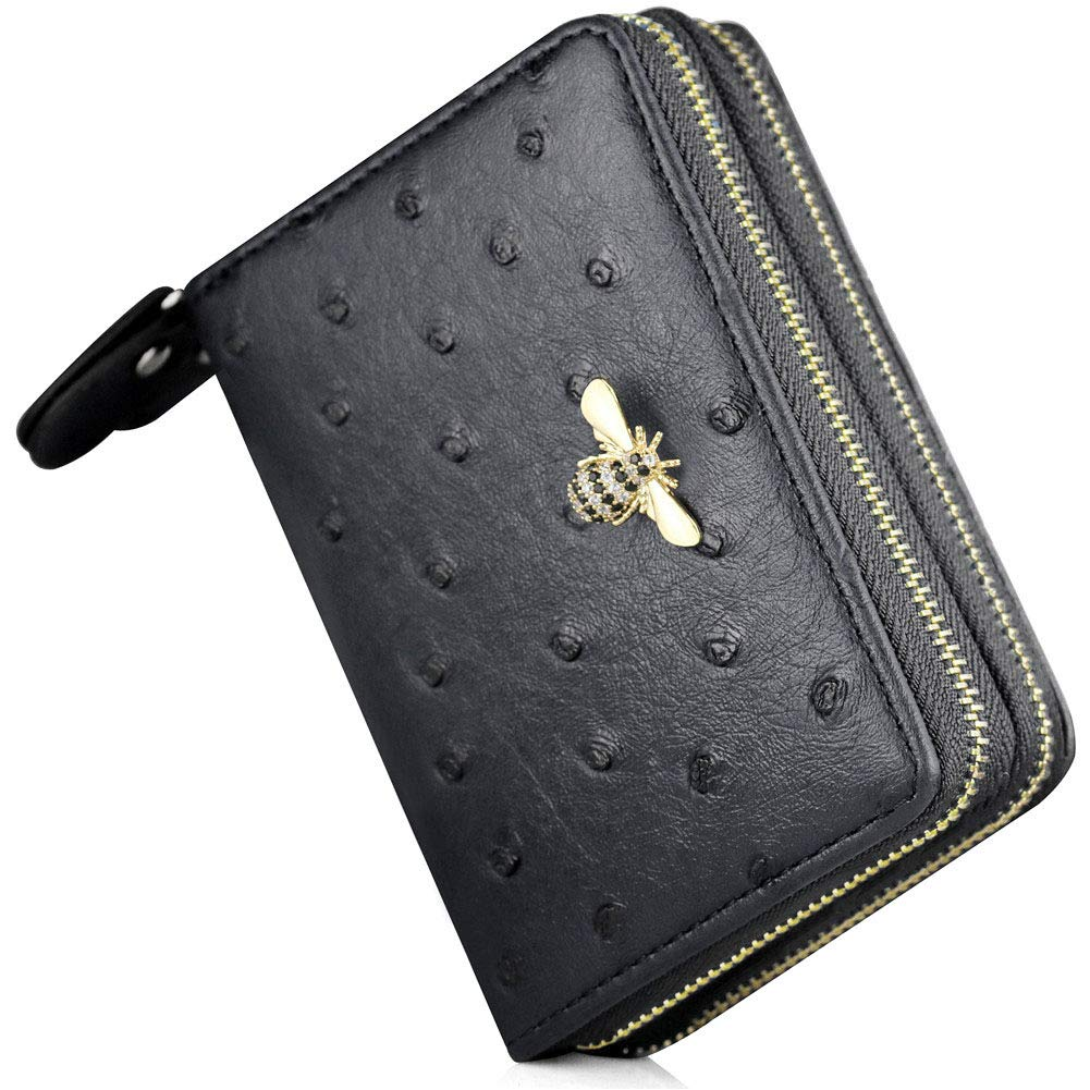 RFID Bee Credit Card Wallets 2 Zipper Gold Plated Large Capacity Leather ID Card Holder For Women (Black - Type 2)