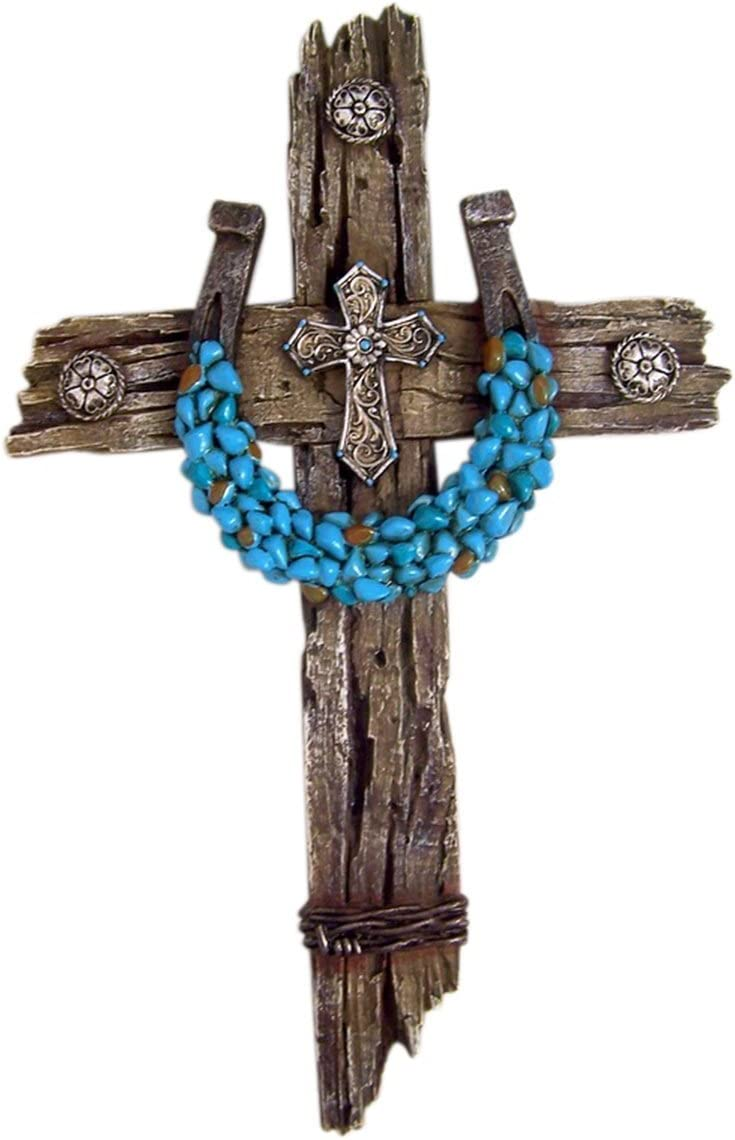 Rustic Wood Look Resin Wall Cross with Turquoise Accent Horseshoe, 12 1/2 Inch