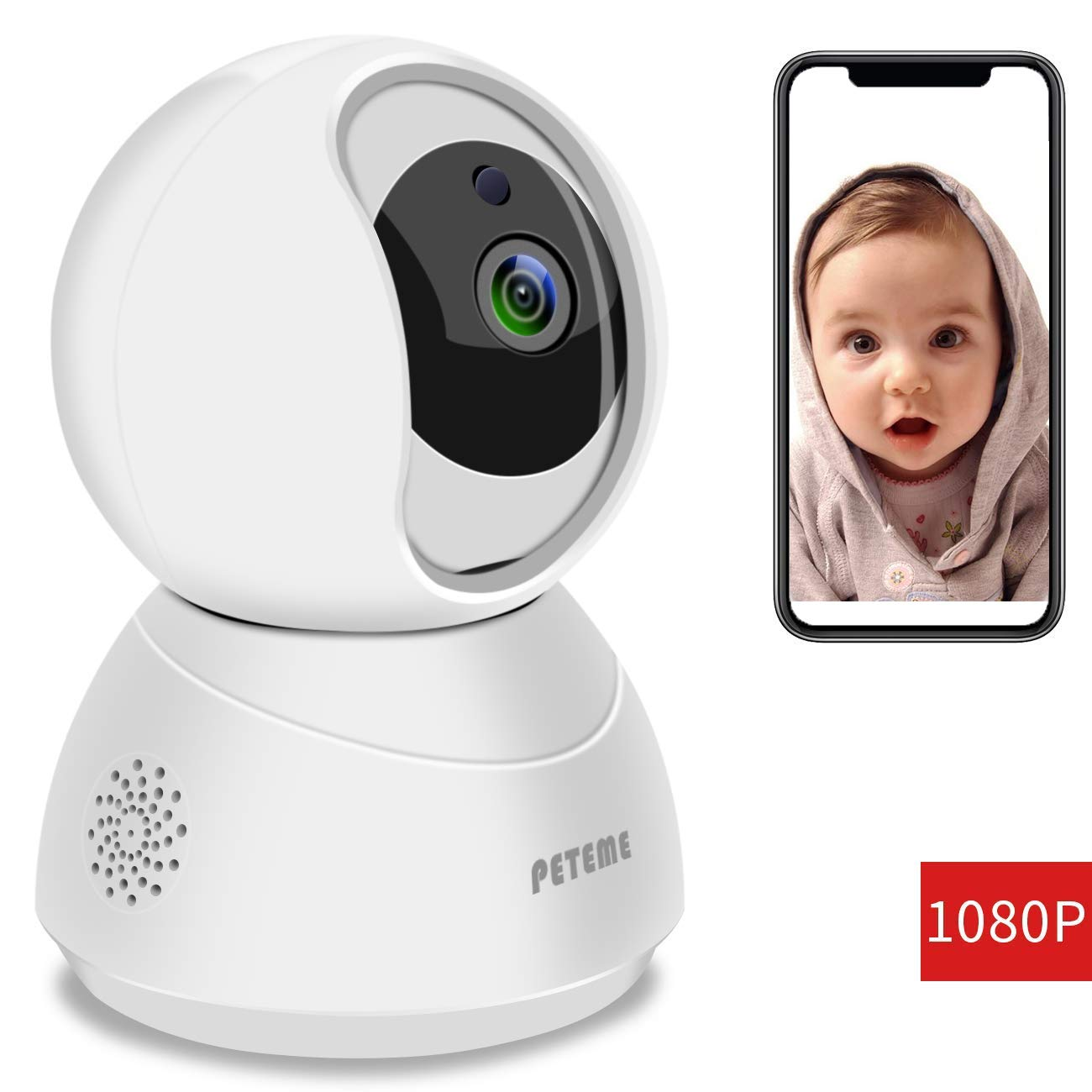 Peteme Baby Monitor 1080P FHD Home WiFi Security Camera Sound/Motion Detection with Night Vision 2-Way Audio Cloud Service Available Monitor Baby/Elder/Pet Compatible with iOS/Android by Peteme