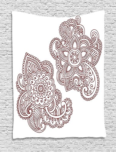 Henna Tapestry, Intricate Ornate Doodle Style Motifs Antique Ancient Cultures Mehendi Inspiration, Wall Hanging for Bedroom Living Room Dorm, 60 W X 80 L Inches, Burgundy White by asddcdfdd