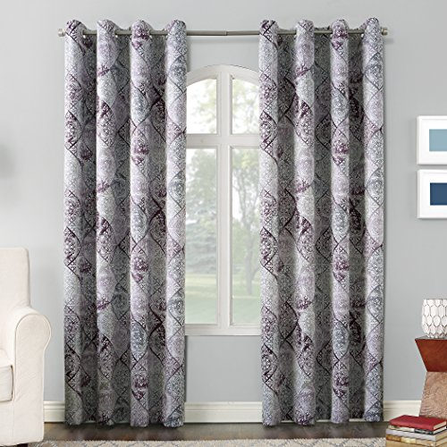 Sun Zero Reardon Distressed Global Tile Print Grommet Curtain Panel,Thistle Purple,54″ x 95″