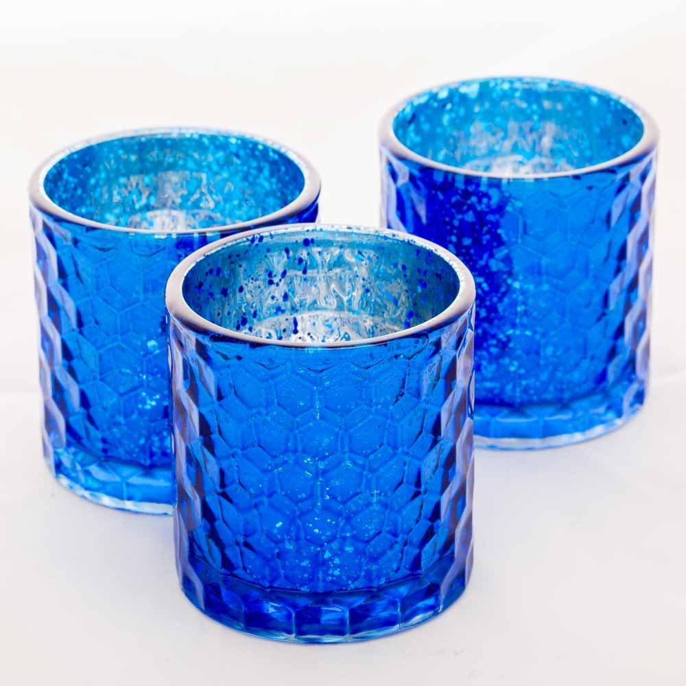 Richland Votive Holder Honeycomb Mercury Blue Set of 48