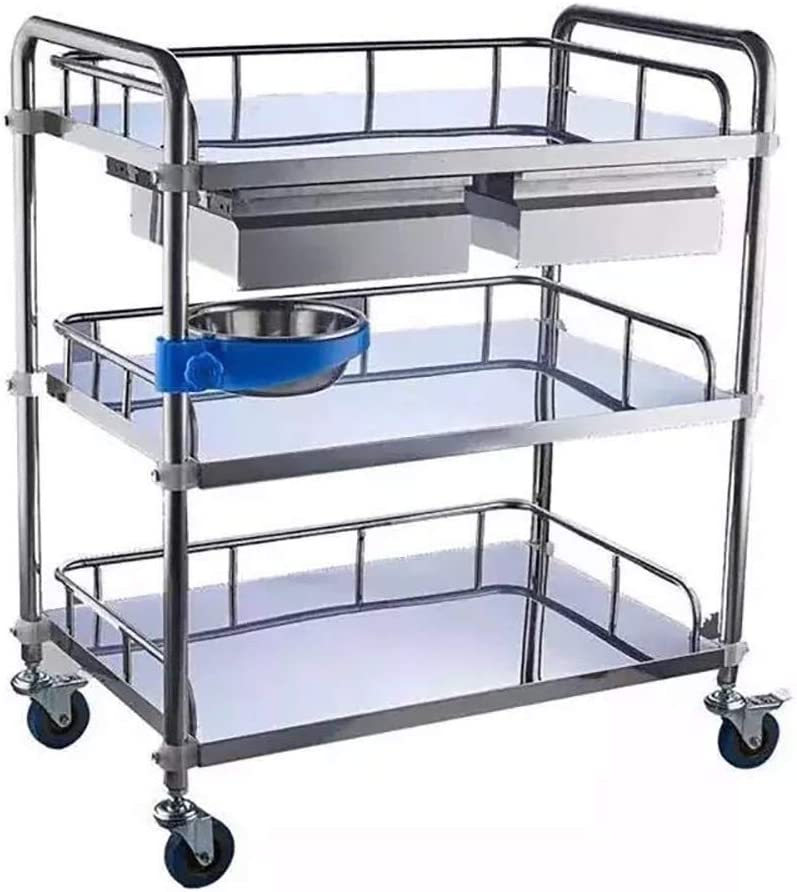 Stainless Steel Cart, Utility Cart Lab Serving Cart, 3-Tier Medical Cart with Wheels Lab Carts Serving Cart Shelf Dental Utility Rolling Cart