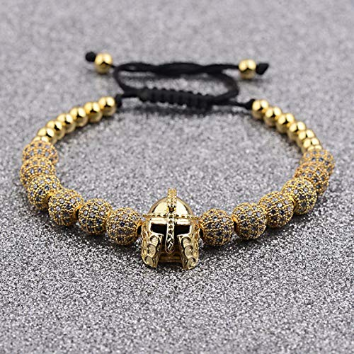 Werrox Luxury Micro Pave CZ Ball Crown Braided Copper Bead Mens Bracelets Jewelry | Model BRCLT - 4186 |