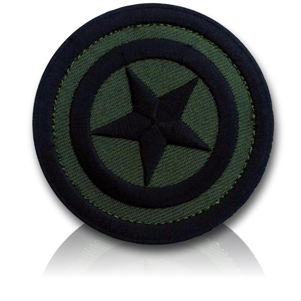 """[Single Count] Custom, Cool & Awesome {2.5' Inches} Circular Army Tactical Morale United States Of America Hero Commander Captain's Star (Military) Hook Fastener Patch """"Camo Forest Green & Black"""""""