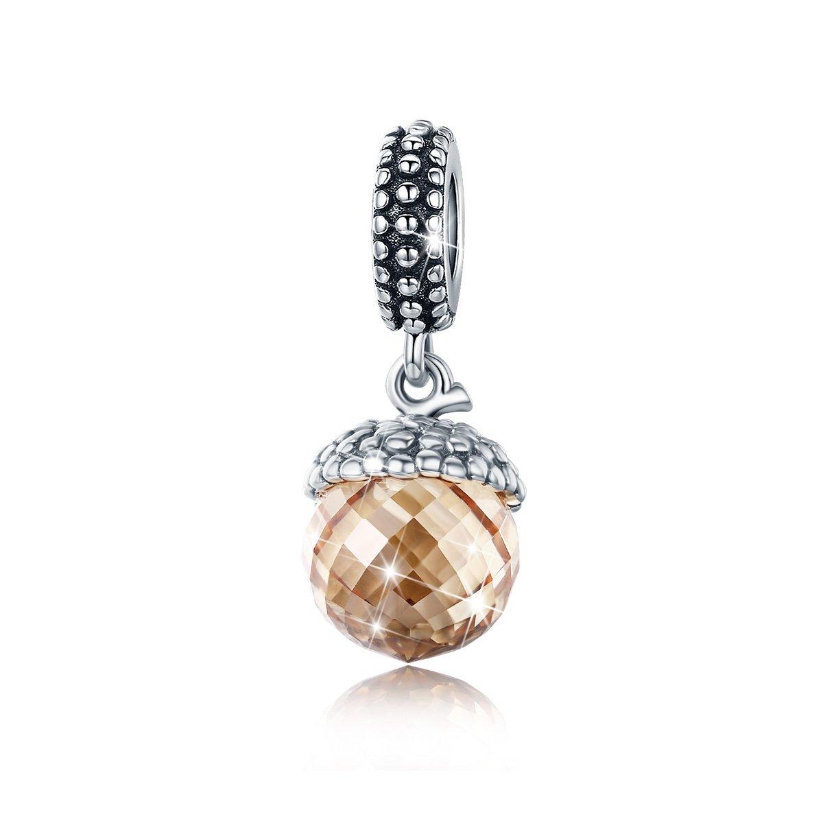 BAMOER 925 Sterling Silver Dangle Filbert Nut Charm Pendant fit Bracelet and Necklace DIY Jewelry