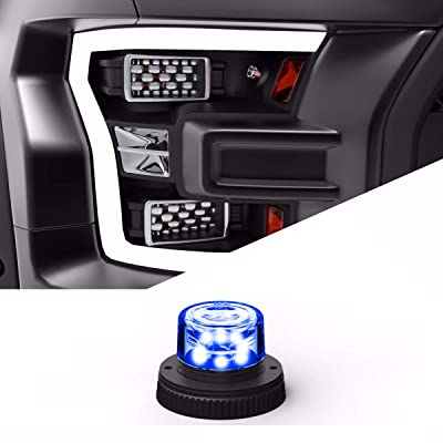 SpeedTech Lights 6 LED 18W Strobe Light for Police Cars, Construction Trucks, Service Vehicles, Plows, Emergency Vehicles. Surface Mount Grille Flashing Hazard Beacon Light - Blue/Blue: Automotive