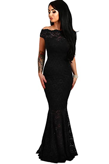 elegante abito cerimonia da donna in pizzo stile a sirena vestito lungo  damigella festa 573e808b042