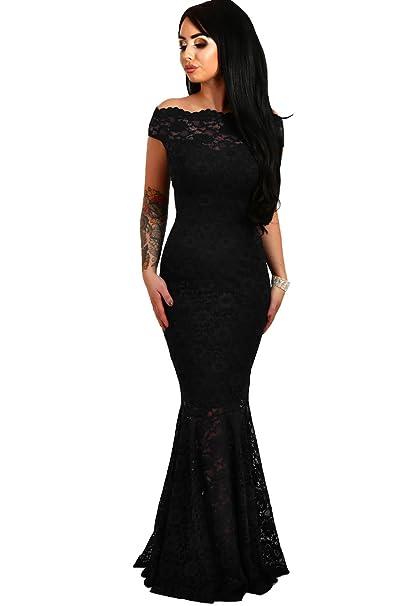 5a96e172a8d0 elegante abito cerimonia da donna in pizzo stile a sirena vestito lungo  damigella festa
