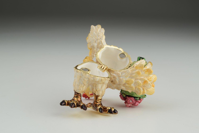 Keren Kopal Rooster with Flowers Trinket Box Faberge Style
