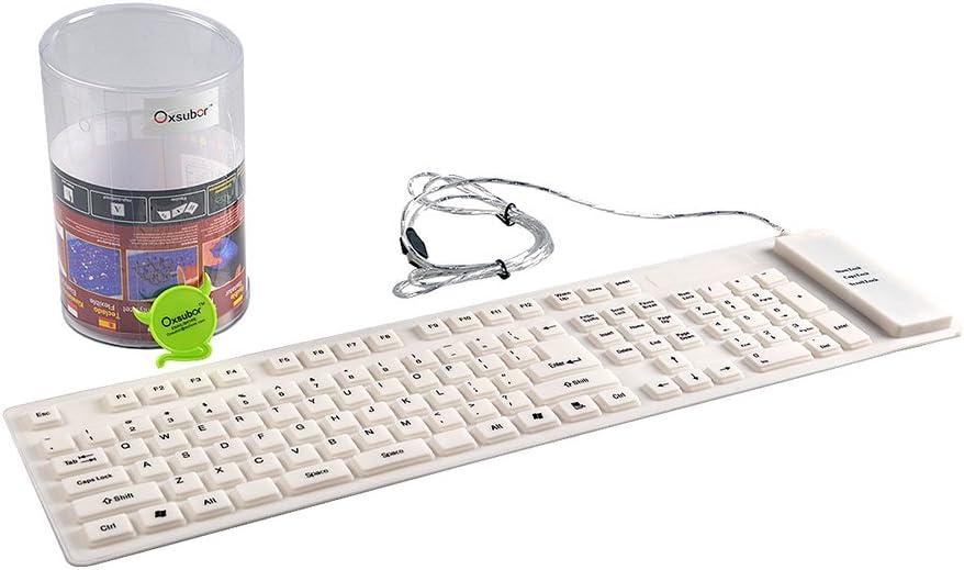 Teclado Flexible, Oxsubor Flexible Silicona Lavable Teclado con USB 2.0 109 Teclas Tamaño Completo Compatible para PC Laptop Win 7 32/64 Mac Blanco ...