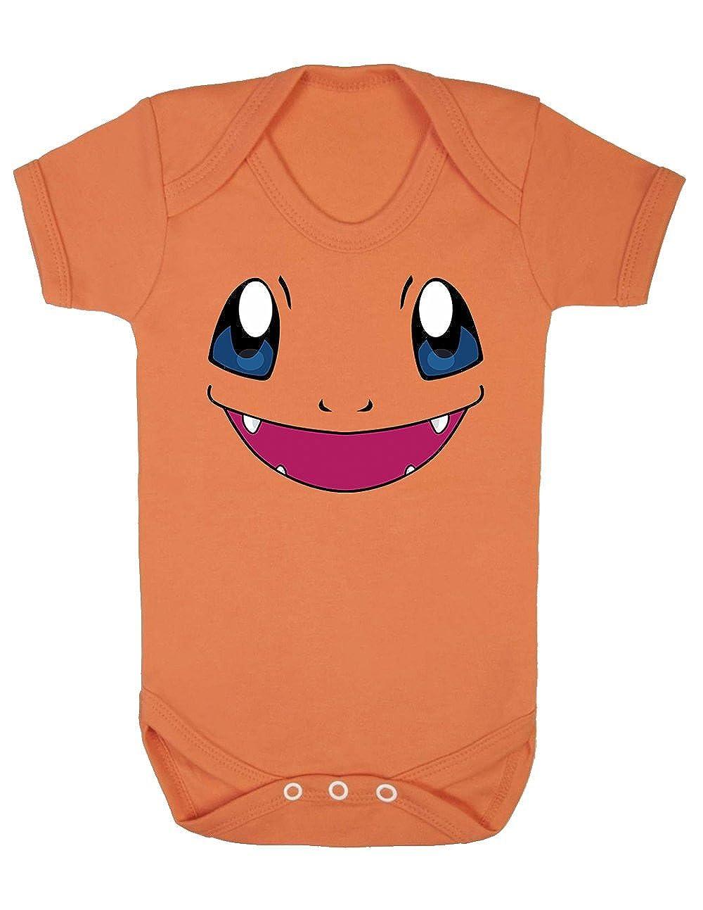 SMARTYPANTS Charmander Pokemon face Inspired Cute Short Sleeved Vest Babygrow Bodysuit
