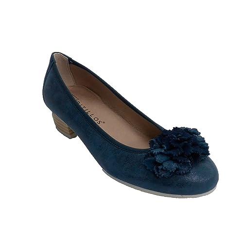 Manoletina Mujer Tacón bajo con Moña Pitillos en Azul Marino Talla 38 tuXDYE9t