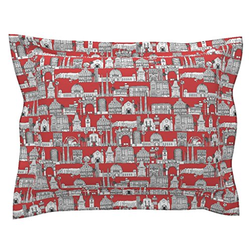 Roostery Architecture Euro Flanged Pillow Sham Los Angeles Red by Scrummy Natural Cotton Sateen Made