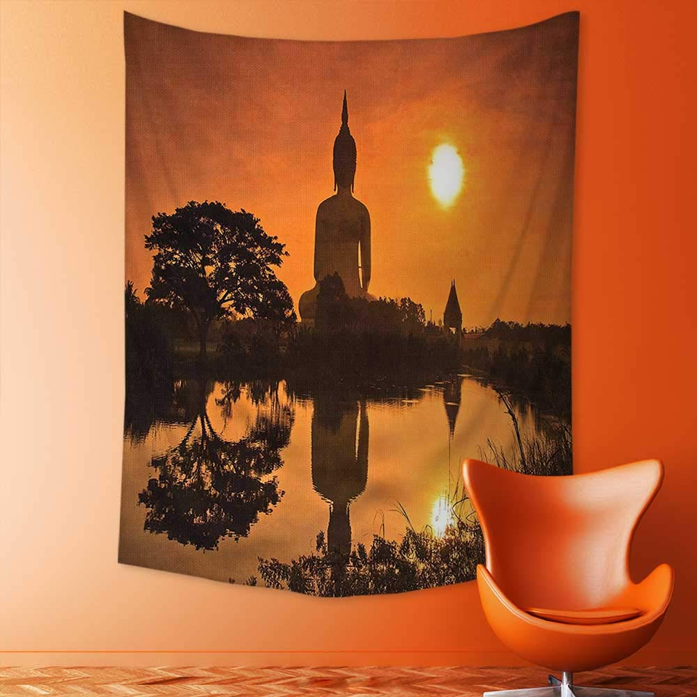 Analisahome Wall Hanging Tapestries Big Giant Statue by The River at Sunset Thai Asian Culture Scene Yin Bedroom Living Room Dorm Decor