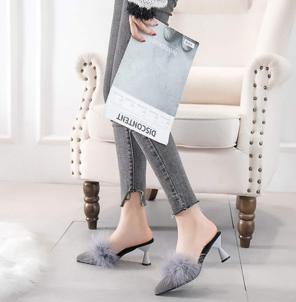 DANDANJIE Damenpücher Faux Plush Casual Casual Casual Slip-Ons & Loafers Mit High Heel Pointed Toe Flip-Flops Schuhe Für Fall Winter Outdoor 6d0124