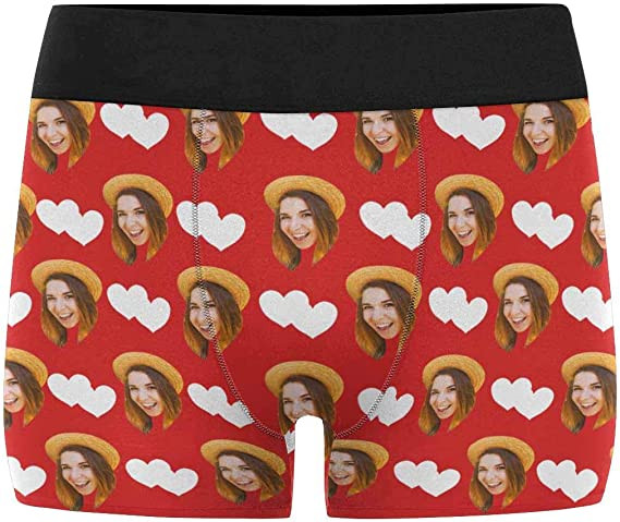 Custom Mens Print Boxer Briefs Underwear with Wifes Face