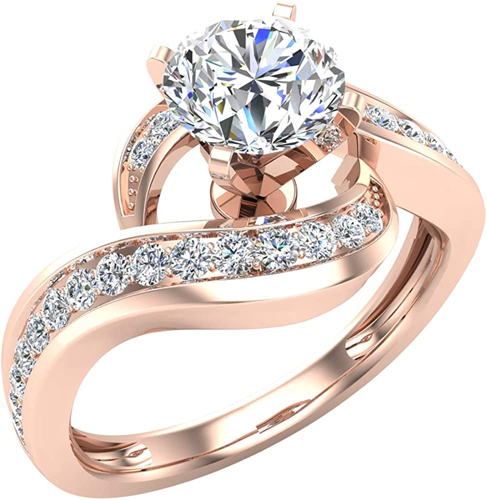 Intertwined Diamond Engagement Ring Solitaire Loop 14k Rose Gold 1 00 Ct Amazon Com