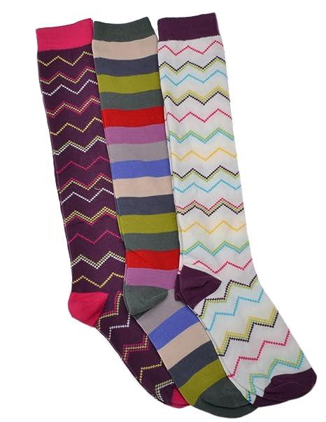 3 pares de Calcetines Largos para mujer, diseño de rayas – altura por la rodilla para Botas: Amazon.es: Ropa y accesorios