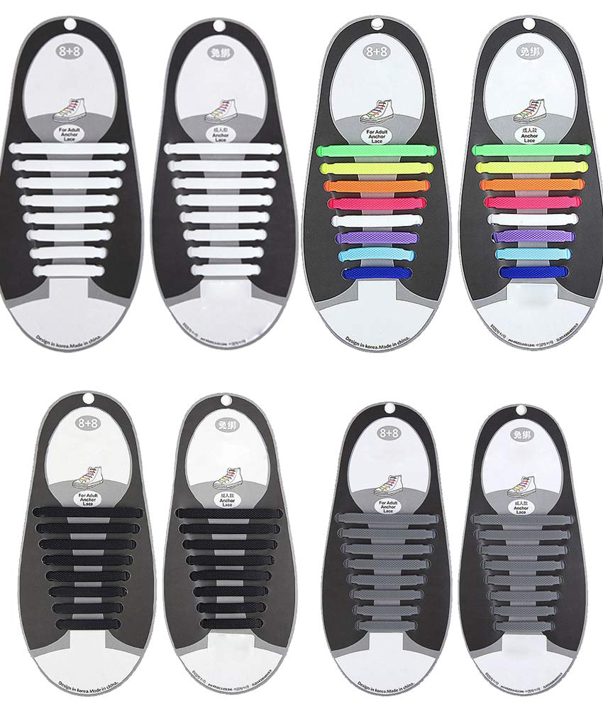 Elastic Anchor Shoe Laces with No Tie for Adults Silicone Waterproof Shoelaces for Sneakers Four Pair Size Adults