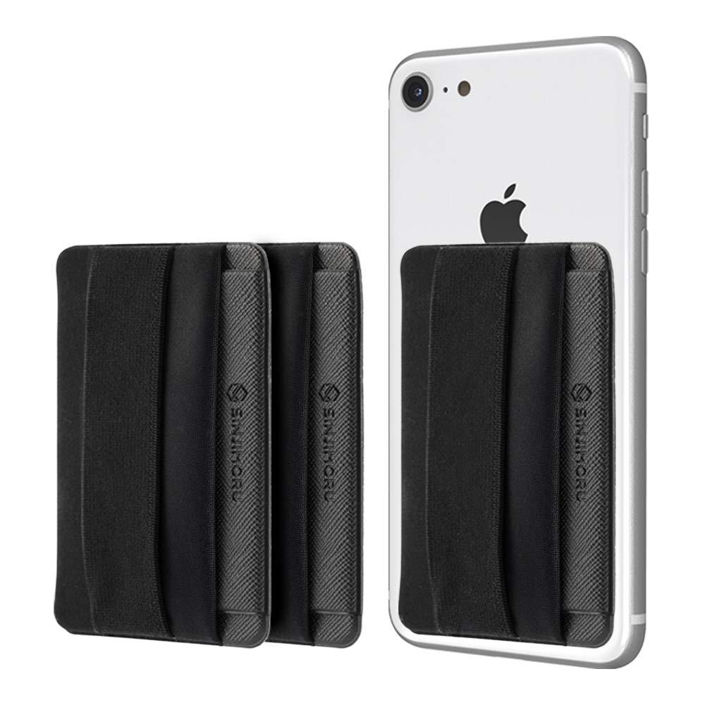 Sinjimoru Phone Grip Card Holder with Flap, Credit Card Holder, Stick-On Wallet, Phone Holder, Finger Strap for Smartphones. Sinji Pouch B-Flap, Black [3pack] by Sinjimoru