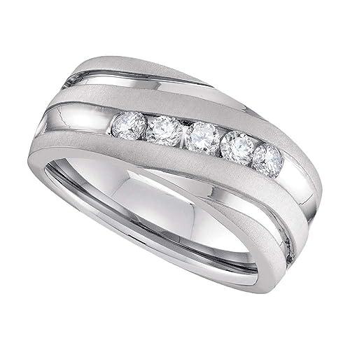 Anillo de oro blanco de 10 quilates para hombre, redondo, diamante, para boda