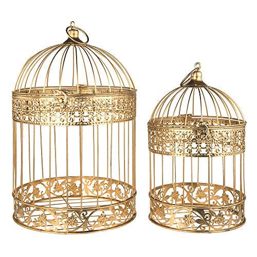 Homeford Gold Metal Wedding Bird Cage Centerpiece, Large, 2-Piece