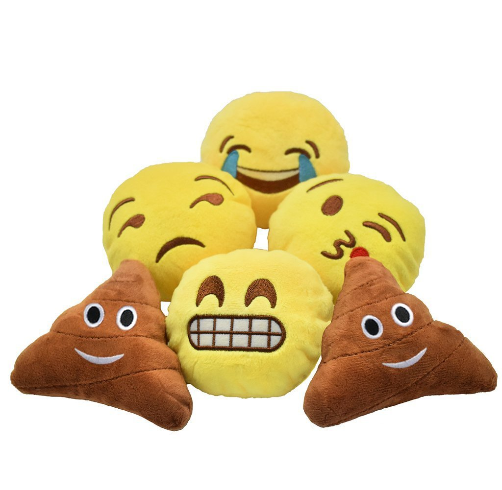 YINGGG Cute Mini Emoji Cushion Pillow Kids Soft Toy Gift Bag Accessory Set of 6 (Style 2)
