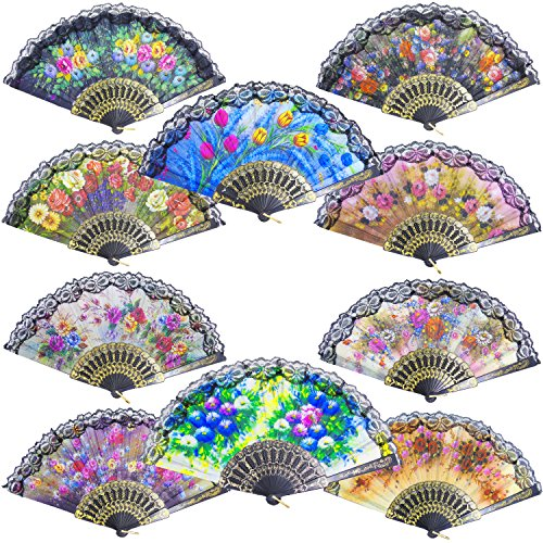 - Grosun 10pcs Spanish Floral Folding Hand Fan Sequin Fabric Folding Handheld Hand Fan, Random Color
