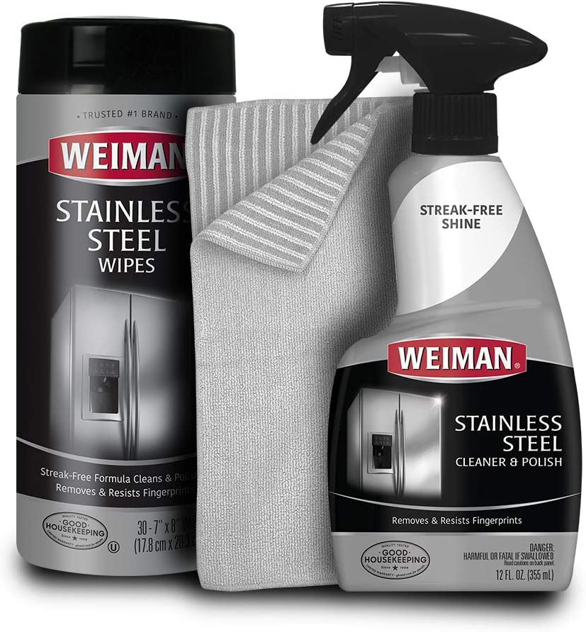 Weiman Stainless Steel Cleaner (bandle) - Works Great on Refrigerators, Dishwashers, Ovens, and Grills by Weiman