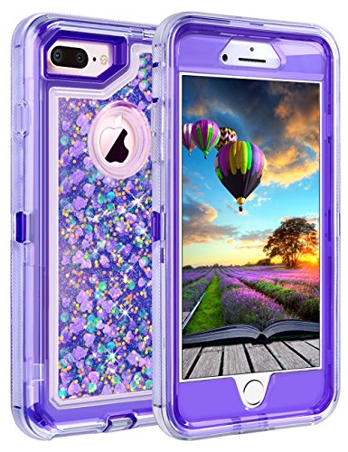 "iPhone 8 Plus Case, iPhone 7 Plus Case, Coolden 3D Glitter Sparkle Dual Layer Quicksand Liquid Cover Clear Shockproof Bumper Anti-Drop PC Frame + TPU Back for 5.5"" Apple iPhone 7 Plus 8 Plus (Purple)"