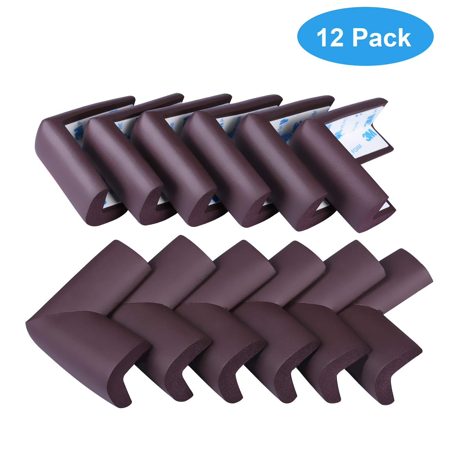 Babepai Soft Baby Proofing Corner Protector for Furniture with 3M Tape to Keep Kids Safe Corner Bumpers 12 Pack(Brown)