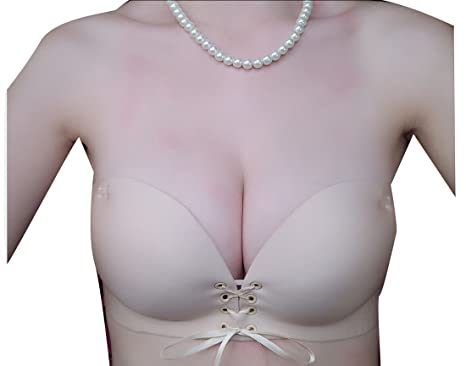 061a2b309d WSPLYSPJY Womens Lace up Invisible Wirefree Push up Strapless Bra at ...