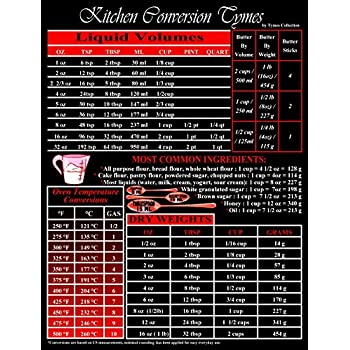 """Magnetic Kitchen Conversion chart 8"""" X 10.5"""" WaterPROOF Refrigerator Magnet. Convert Metric, Imperial, Weight, Liquid, Temperature for all your Cooking/Baking Needs!! Made in USA"""