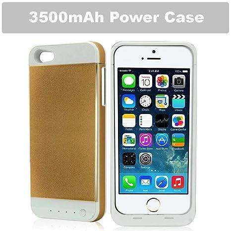 Caja del banco de energía REALMAX® 3500mAh para iPhone 5 y iPhone 5S con indicador de alimentación de 4 LED Carcasa de batería extendida recargable ...