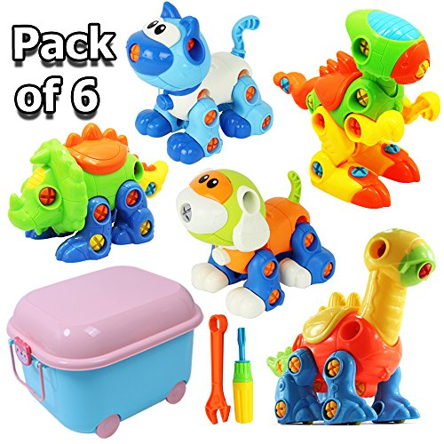 Dinosaur Toys, Take Apart Toys with Tools, Large Toy Storage Box, STEM Learing Construction Engineering Toy, Building Play Set,Cat Dog Figure for Kids Boys Girls Toddlers Age 3-10 Years Old, Pack Of 6 by BooTaa