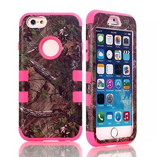 / 6s Plus Camo Camouflage Mossy Real Oak Hunting Tough Shell Armor Multi Layer [Hard PC + Gel Inner] Impact Protection Hybrid Heavy Shockproof by Tech Express (Hot Pink Tree) (Premium Oak Trucks)