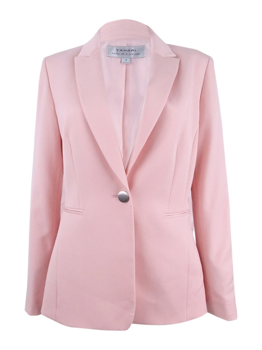 Tahari Women's Petite Single-Button Peak-Collar Blazer (16P, Pastel Pink)