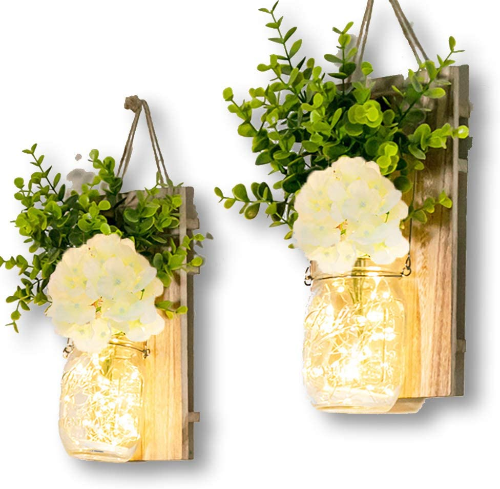 Zoopdod Rustic Brown Mason Jar Sconces for Wall Decor, Decorative Chic Hanging House Decor Mason Jars with LED Strip Lights, 6-Hour Timer, Silk Hydrangea, Iron Hooks for Home & Kitchen Decorations