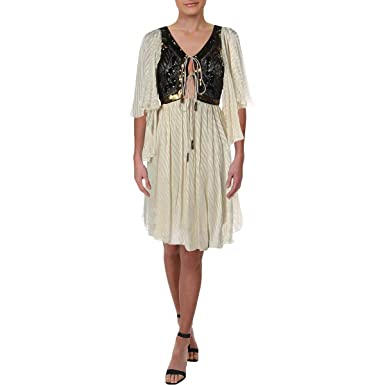 c307f13d Free People Womens Moonglow Embellished Lace-Up Mini Dress at Amazon  Women's Clothing store: