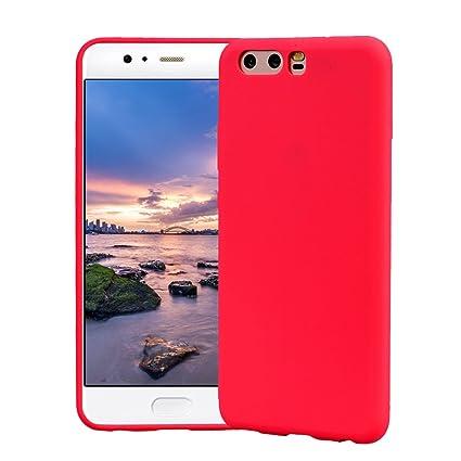 Funda HuaWei P10, Carcasa HuaWei P10 Silicona Gel, OUJD Mate Case Ultra Delgado TPU Goma Flexible Cover para HuaWei P10 - Rojo
