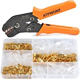 ATPWONZ Crimping Stripper Tool Set, SN-48B Dupont Terminal Ratchet Crimper Tool 0.14-1.5mm2 26-16WAG Compression Crimping Pilers/with 150Pcs Female Spade Crimp Terminal(2.8mm 4.8mm 6.3mm)