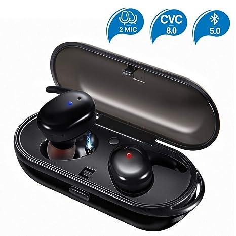 JOYGEEK Auricular Bluetooth 5.0, Manos Libres Oreja Auricular Bluetooth con Micrófono Estéreo, Tecnología de