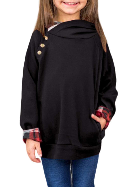 GOSOPIN Girls Loose Tunic Button Hooded Sweatshirt Medium Black