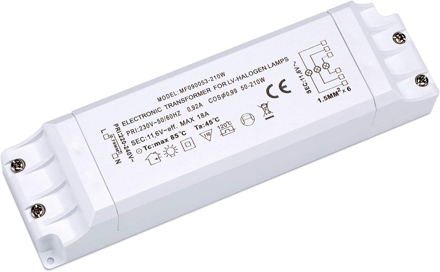 Yafido Transformador Electr/ónico 220V AC a 12V DC 50-210W para L/ámparas Hal/ógenas con Protecci/ón Contra Sobrecarga y Sobrecalentamiento