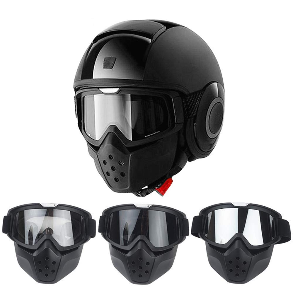 One-piece motorcycle helmet Motorcycle Goggles Mask Detachable Harley Style Protect Padding Helmet Sunglasses with Removable Face Mask Mouth Filter Adjustable Strap Vintage Road Riding Half-cover ligh