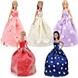 E-TING 5pcs Fashion Gorgeous Princess Wedding Party Gown Dresses Clothes with Floral-Print Voile All Around for Girl…
