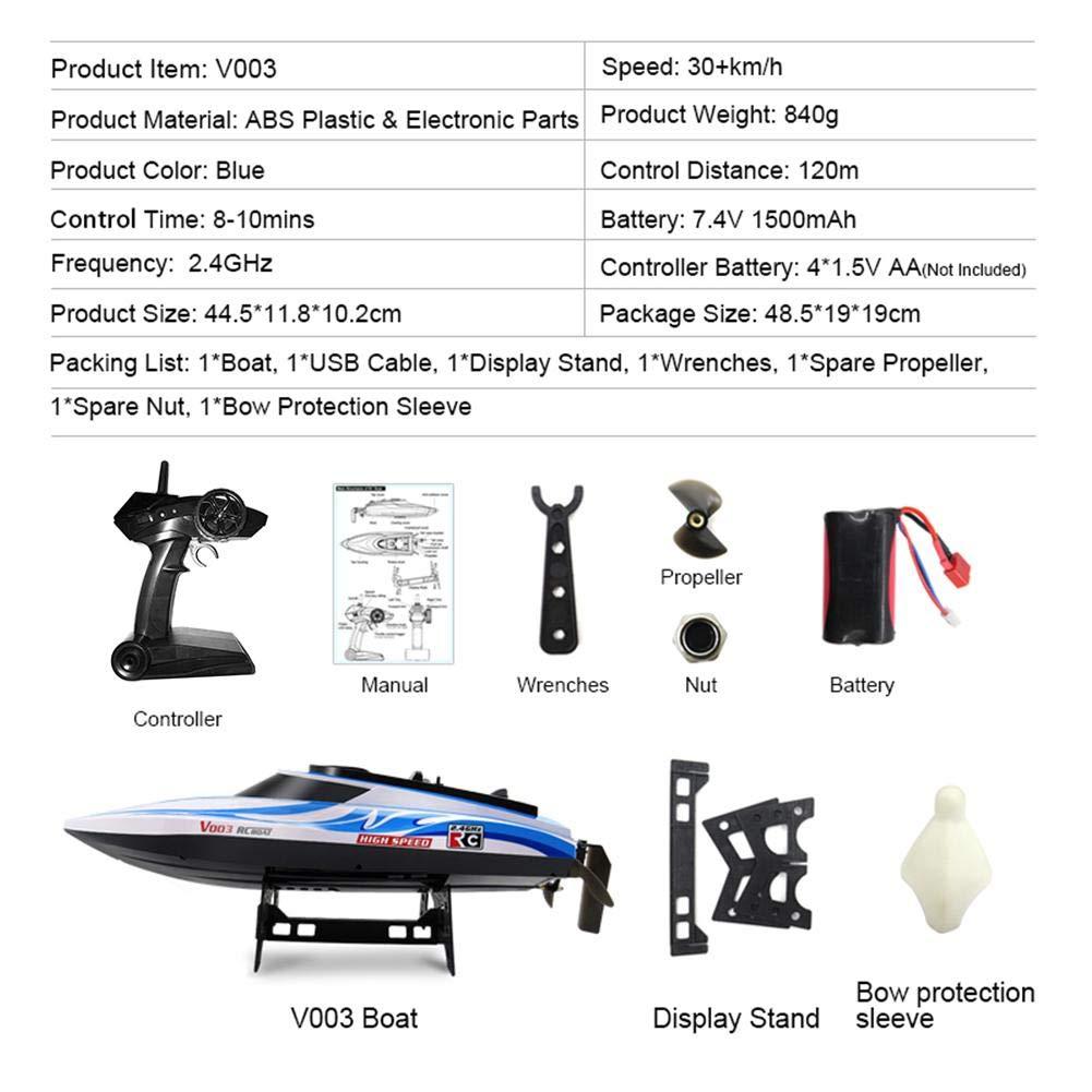 Ferngesteuerte Boote f/ür Pools und Seen 2,4 GHz Hochgeschwindigkeitsfernsteuerungs-Rennboot Ferngesteuerte RC-Boote f/ür Kinder oder Erwachsene