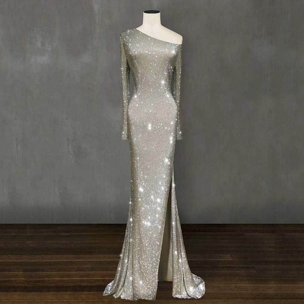 baskuwish Women Off Shoulder Sparkling Gradual Silver Open Fork Asymmetry Evening Dress Prom Dress