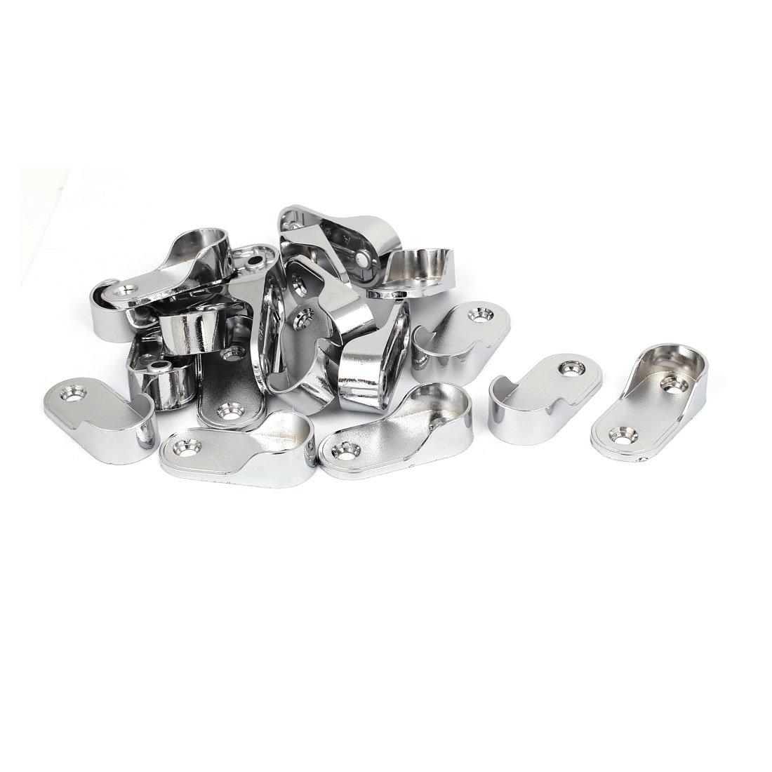 uxcell Wardrobe Zinc Alloy Rod End Support Bracket Holder 20pcs for 19mm Dia Tube